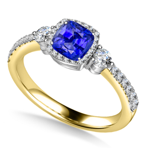 18ct Yellow Gold Cushion Cut Blue Sapphire Engagement Rings