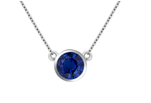 Image for Classic Round Blue Sapphire Solitaire Pendant
