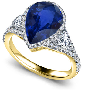 18ct Yellow Gold Pear Shaped Blue Sapphire Engagement Rings