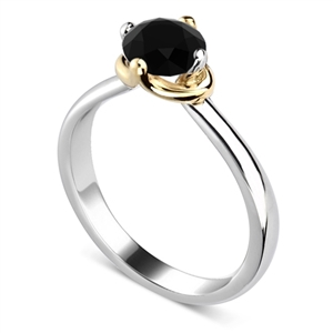 Image for Round Black Diamond Solitaire Ring
