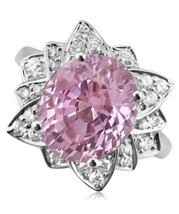 Image for Oval Pink Sapphire & Diamond Designer Ring