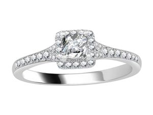 Image for 0.60CT VS/FG Petite Princess Diamond Halo Ring