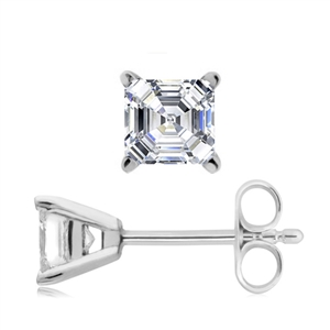 18ct White Gold Asscher Cut Diamond Earrings