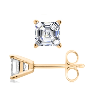 18ct Yellow Gold Asscher Cut Diamond Earrings