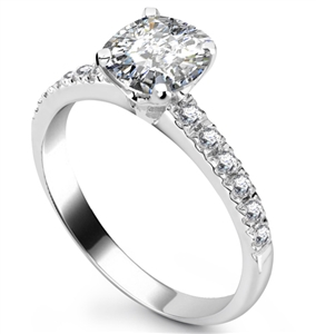 Image for Cushion Diamond Shoulder Set Ring