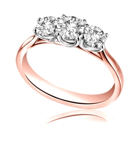 18ct Rose Gold Round Diamond Trilogy Engagement Rings