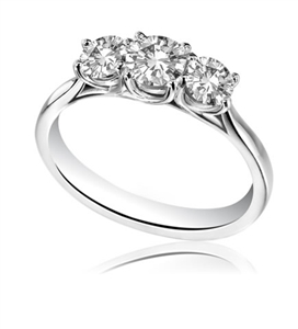 Platinum Round Diamond Trilogy Engagement Rings