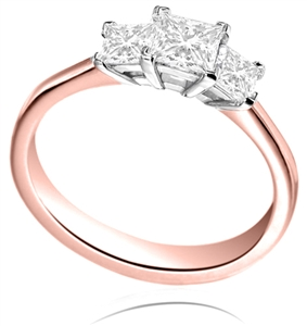 18ct Rose Gold Princess Cut Engagement Rings