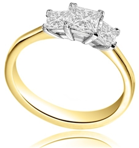 18ct Yellow Gold Princess Cut Diamond Trilogy Engagement Rings