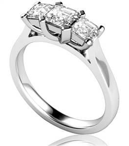 18ct White Gold Asscher Cut Diamond Trilogy Engagement Rings