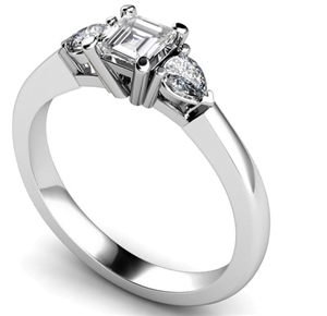 Asscher Cut Trilogy Diamond Rings
