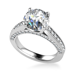18ct White Gold Round Diamond Vintage Engagement Rings