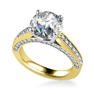 18ct Yellow Gold Round Diamond Vintage Engagement Rings