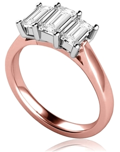 18ct Rose Gold Emerald Cut Diamond Trilogy Engagement Rings