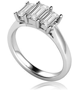 Platinum Emerald Cut Diamond Trilogy Engagement Rings