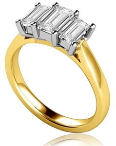 18ct Yellow Gold Emerald Cut Diamond Trilogy Engagement Rings