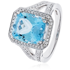 Cushion Cut Gemstone Diamond Rings