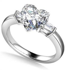 Platinum Heart Shape Diamond Trilogy Engagement Rings
