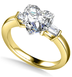 18ct Yellow Gold Heart Shape Diamond Trilogy Engagement Rings