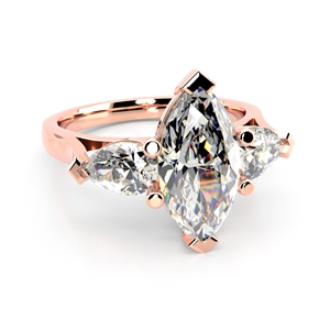 18ct Rose Gold Marquise Cut Diamond Trilogy Engagement Rings