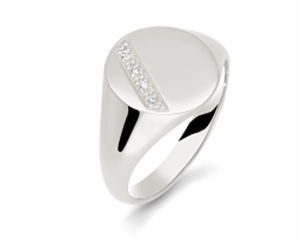 Image for Round Diamond Gents Oval Signet Ring