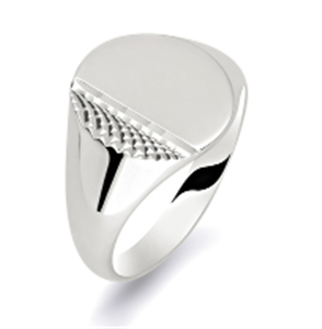 Image for Gents Oval Patterned Signet Ring