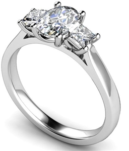 Image for Traditional Oval & Princess Diamond Trilogy Ring