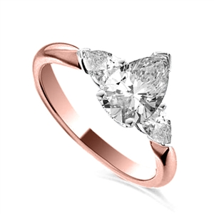 18ct Rose Gold Pear Shape Diamond Trilogy Engagement Rings