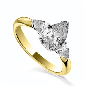 18ct Yellow Gold Pear Shape Diamond Trilogy Engagement Rings