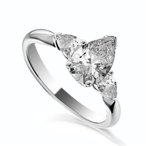 Palladium Pear Shape Diamond Trilogy Engagement Rings