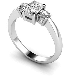 Image for Elegant Radiant & Round Diamond Trilogy Ring