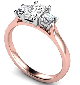 Image for Unique Radiant & Princess Diamond Trilogy Ring