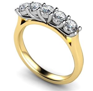 Image for 5 Stone Round Diamond Half Eternity Ring