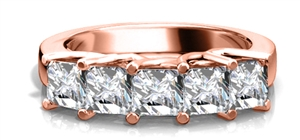 18ct Rose Gold Princess Cut Half Prong Eternity Rings