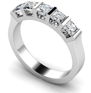 Princess Cut 5 Stone Diamond Rings
