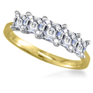 18ct Yellow Gold Asscher Cut Diamond Eternity Rings