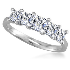 Palladium Asscher Cut Half Prong Eternity Rings