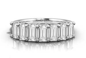 18ct White Gold Emerald Cut Half Prong Eternity Rings