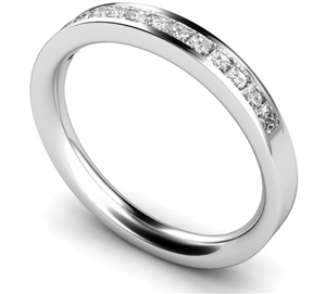 Palladium Princess Cut Half Channel Eternity Rings