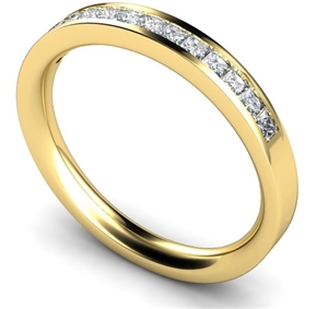 18ct Yellow Gold Princess Cut Half Channel Eternity Rings