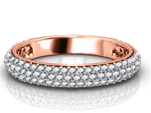 18ct Rose Gold Round Diamond Half Pave Eternity Rings
