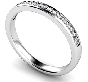 Palladium Round Diamond Half Pave Eternity Rings
