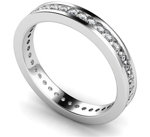 Round Diamond Full Channel Eternity Rings