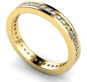 18ct Yellow Gold Round Diamond Full Channel Eternity Rings