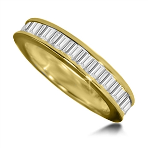18ct Yellow Gold Emerald Cut Diamond Eternity Rings
