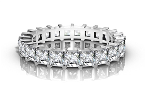18ct White Gold Princess Cut Full Prong Eternity Rings
