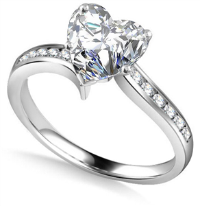 Heart Shoulder Set Diamond Engagement Rings