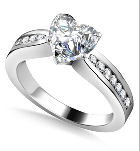 Image for Heart Diamond Shoulder Set Ring