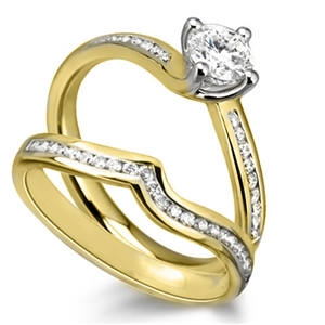 18ct Yellow Gold Bridal Set Engagement Rings Diamond Heaven