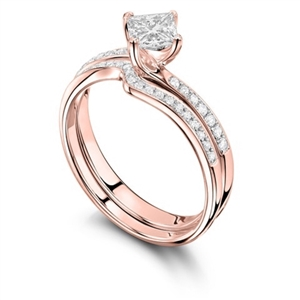 18ct Rose Gold Princess Cut Diamond Bridal Set Engagement Rings